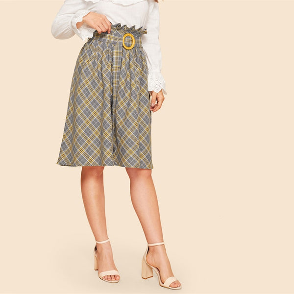 Vintage Plaid Ruffle Waist Belted Skirt