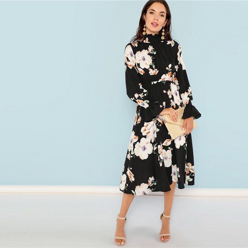 Floral Ruffle Neck Flare Cuff Dress