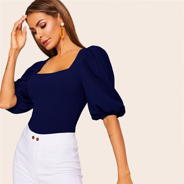 Solid Puff Sleeve Square Neck Top