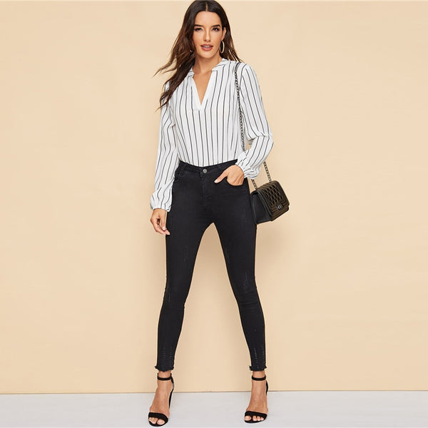 Striped V-Neck Long Sleeve Top