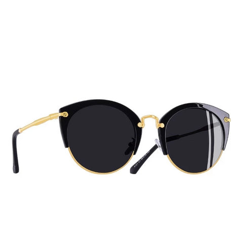 Round Cat Eye Half Frame Sunglasses