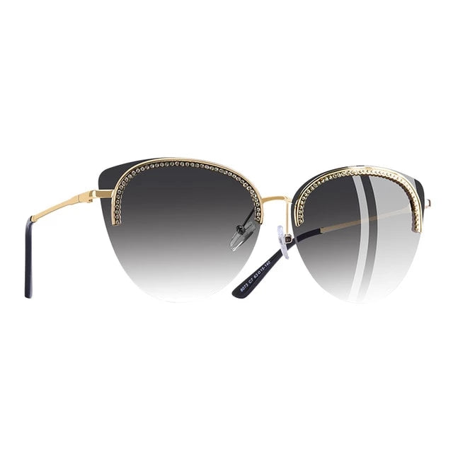 Cat Eye Half Frame Detail Sunglasses
