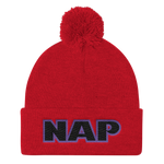 """NAP"" Embroidery. Pom Pom Knit Cap. Winter Toque."