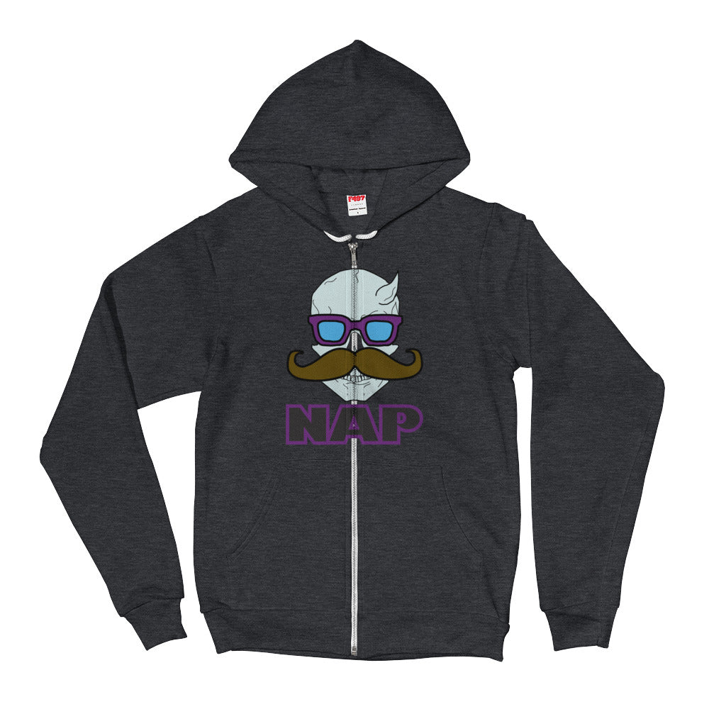 """Horned Skull Mustache-style NAP."" XS-2XL. Unisex Hooded Sweater. Hoodie."
