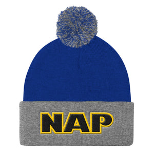 "Markinapparel | ""NAP"" Embroidery. Pom Pom Knit Cap. Winter Toque. Yellow Outline. - Steven Markin"