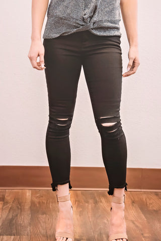Cropped Jeans- Black