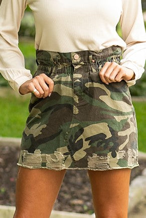 Denim Skirt- Camo