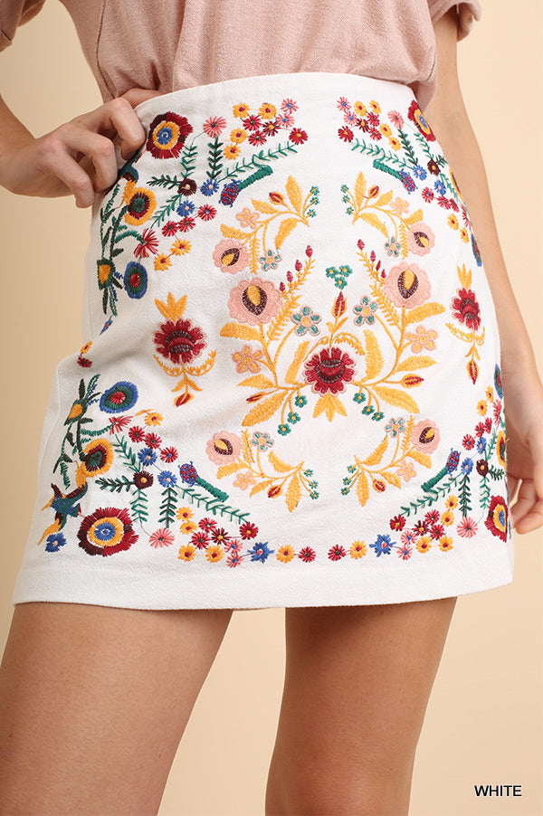 Floral Embroidered Skirt- White