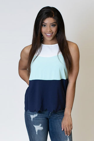 Sleevess Colorblock Tank- Mint