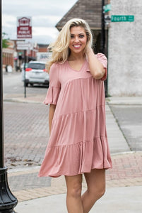 Baby Doll Dress- Dusty Pink