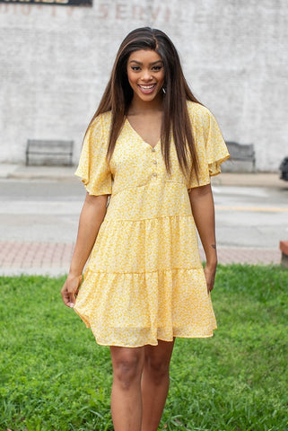 Flower Woven Dress- Yellow