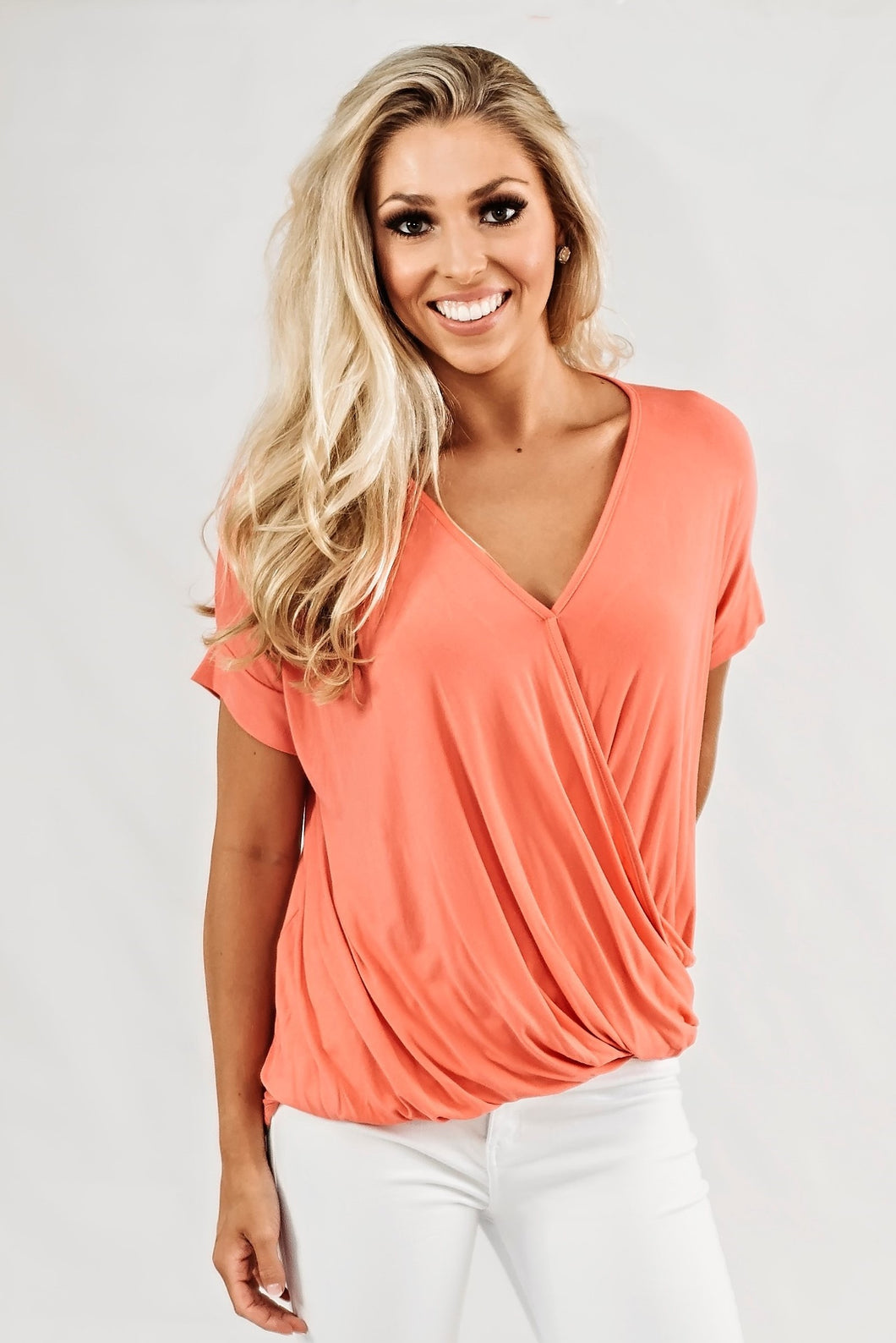 Rayon V Neck Top- Coral