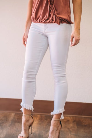 Cropped Jeans- White