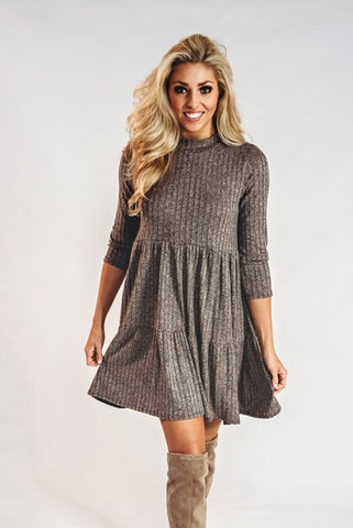 Ribbed Dress- Mocha
