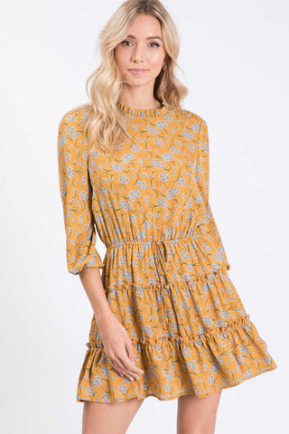 Mini Ruffle Dress- Mustard