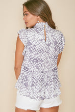 Load image into Gallery viewer, Mockneck Woven Top- Grey/Ivory