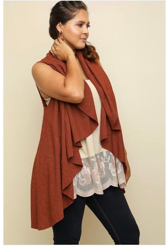 Open Front Lapel Vest- Rust