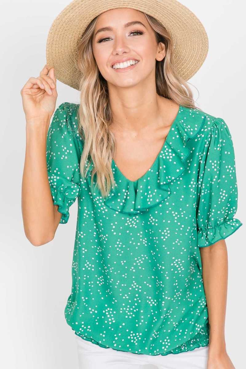 Ruffle Top- Kelly Green