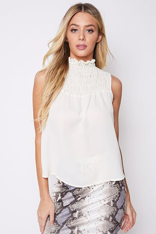 Smocking Turtle Neck Top- Creme