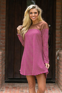 Striped Pocket Tee Dress- Wine/Creme