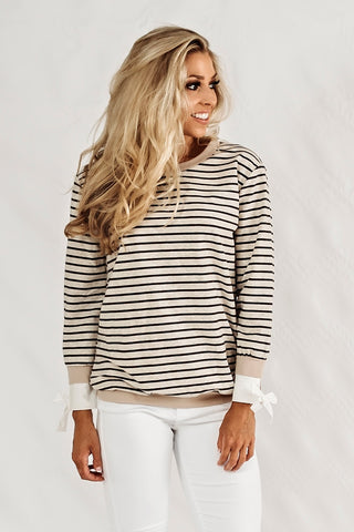 Side Tie Sweater- Oatmeal