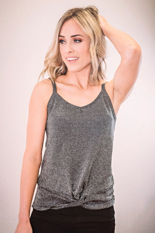 Metallic Sleeveless Sweater Tank- Black