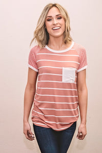 Multi Stripe Raglan Tee-Dusty Pink