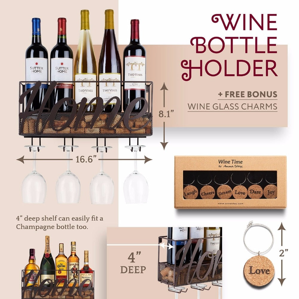 Wine Rack with Bottle and Glass Holder - UnequelyUs