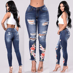 Womens Ripped Jeans With Embroidery - UnequelyUs