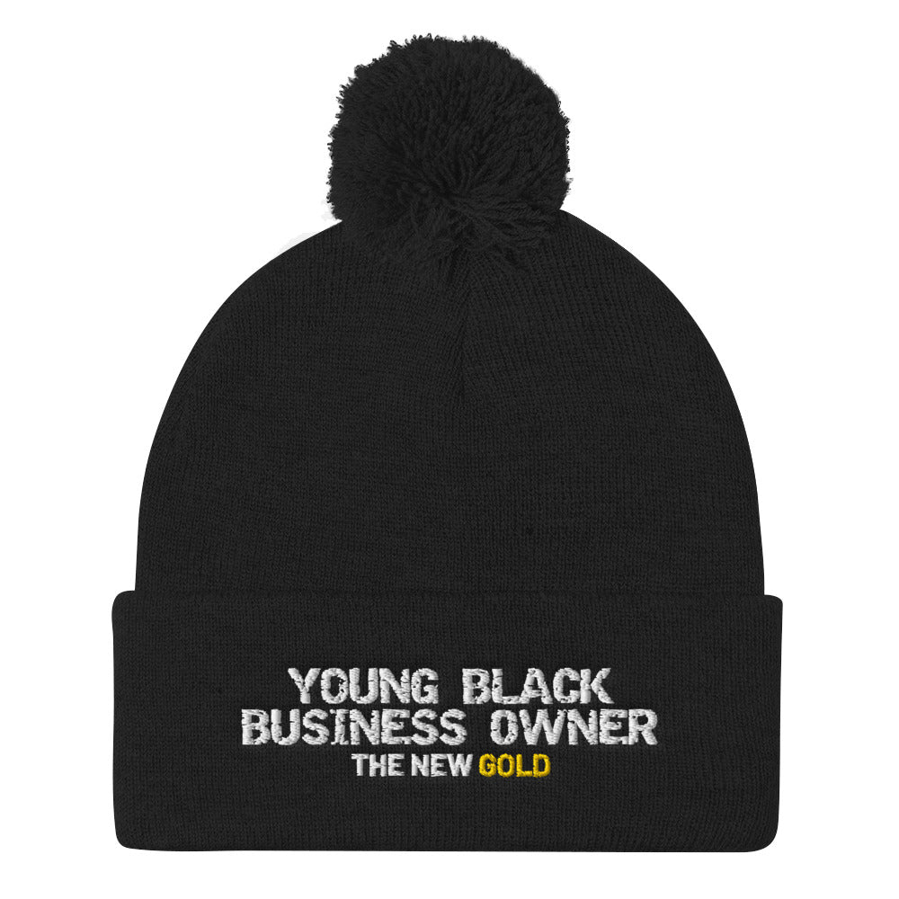 Young Black Business Owner Pom Pom Knit Cap - UnequelyUs