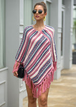 Ladies V-neck Striped Knitted Pullover - UnequelyUs