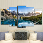 5 Piece Modern Canvas Moraine Lake And Mountain Painting - UnequelyUs