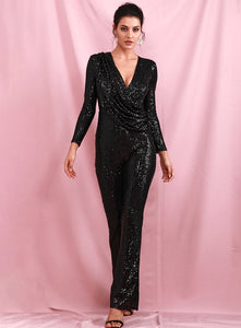 Sexy Black Deep V-neck Sequin Jumpsuit - UnequelyUs