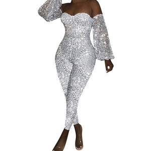 Glitter Strapless Bodycon Jumpsuit