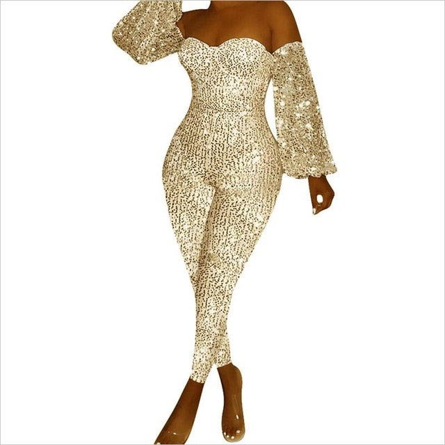 Glitter Strapless Bodycon Jumpsuit | UnequelyUs