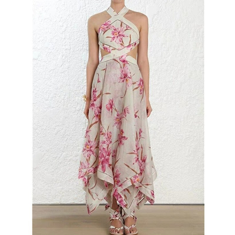 Floral Halter Neck Maxi Dress - UnequelyUs