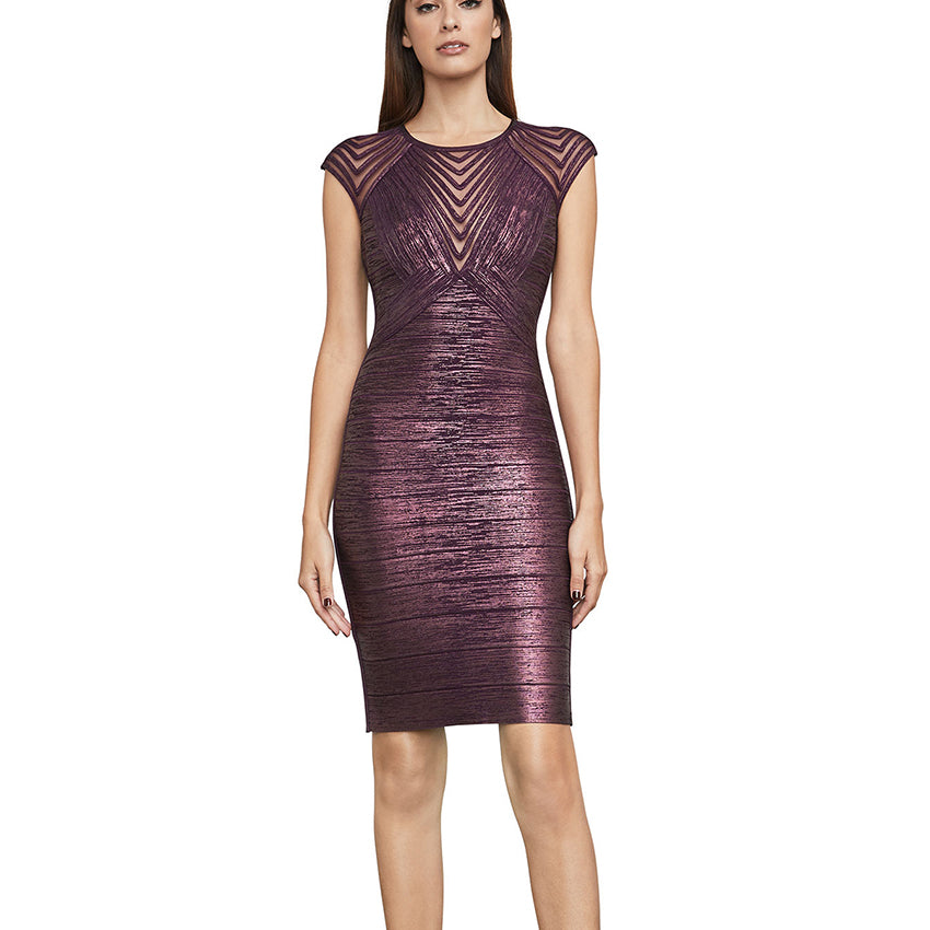 Foil Bodycon Dress With Mesh Sleeve - UnequelyUs