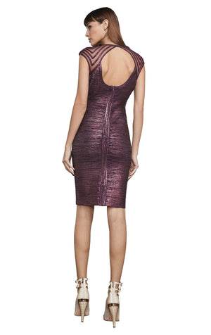 Foil Bodycon Dress With Mesh Sleeve