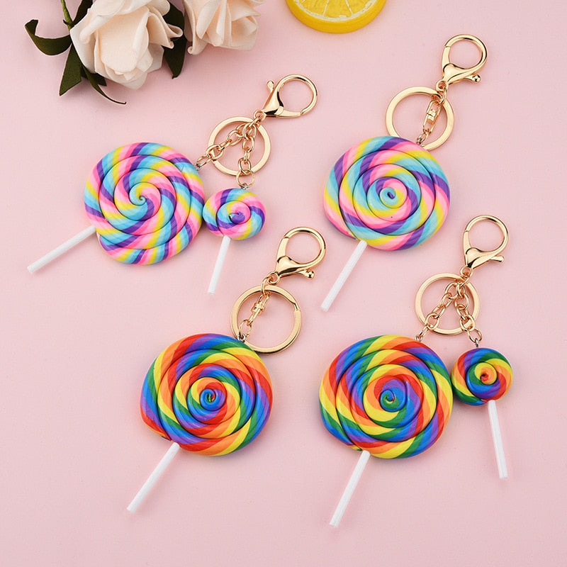 Rainbow Lollipop Keychain - UnequelyUs