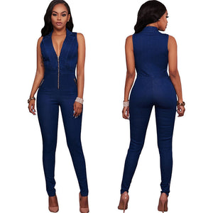 Blue Denim V-neck Bodycon Jumpsuit - UnequelyUs