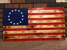Load image into Gallery viewer, Rustic Wood Burnt Betsy Ross 13 Star American Flag