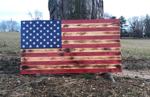 Rustic Woodburnt American Flag