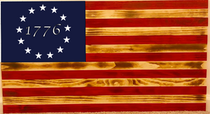 Rustic Wood Burnt Betsy Ross 13 Star American Flag