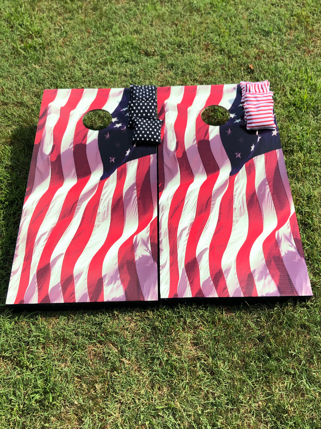 Waving American Flag Cornhole Boards