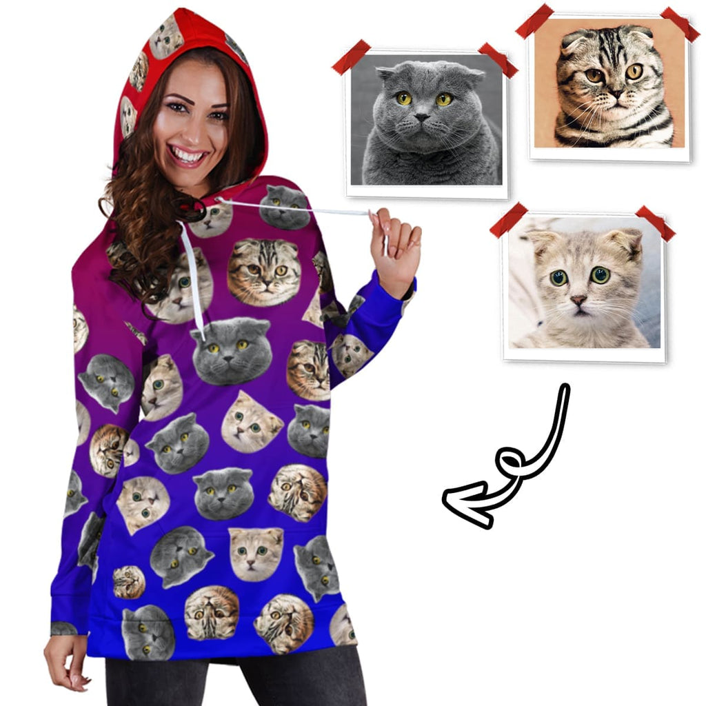 Custom Cat Face Hoodie Dress - Perfect Gifts for the Cat Lover in Your Life - ASDF Print