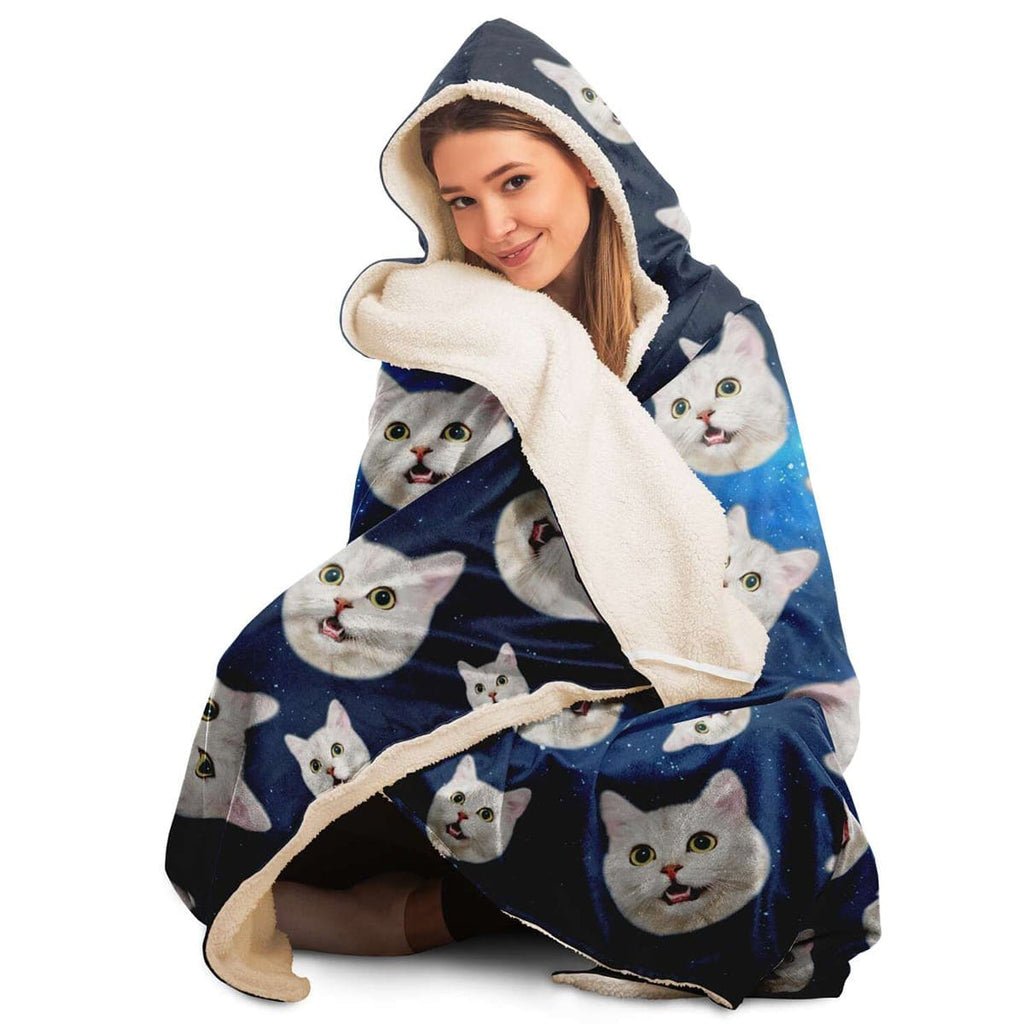 Custom Cat Face Sherpa Hooded Blanket - Perfect Gifts for the Cat Lover in Your Life - ASDF Print
