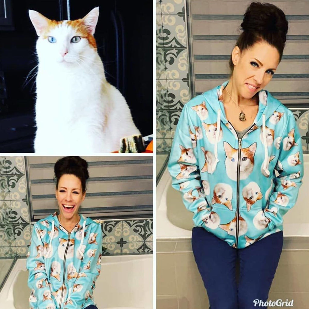 Custom Cat Face Zip-Up Hoodie - Perfect Gifts for the Cat Lover in Your Life - ASDF Print