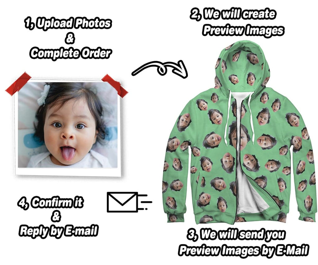 Custom Photo Zip Up Hoodie With Plain Color Backgrounds   ASDF Print