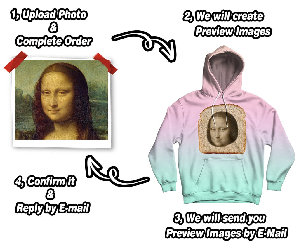 Custom Funny Hoodie With Your Face Printed on a Baked Bread   ASDF Print