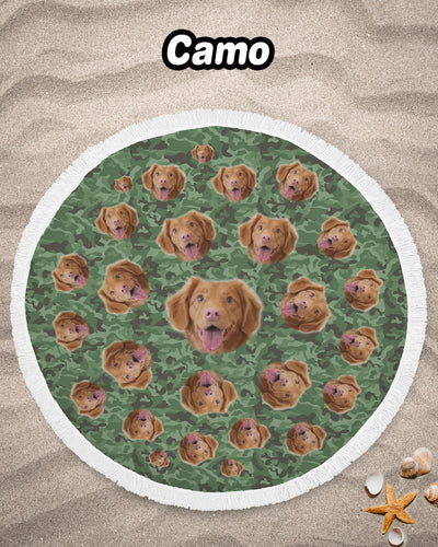 Personalized Many-Face Round Beach Blanket | Custom-Made Products | ASDF PRINT